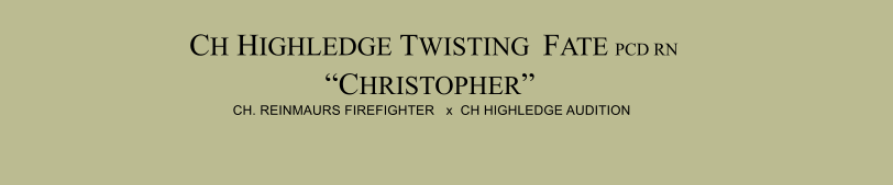 "CH HIGHLEDGE TWISTING  FATE PCD RN RA  ""CHRISTOPHER""  CH. REINMAURS FIREFIGHTER   x  CH HIGHLEDGE AUDITION"