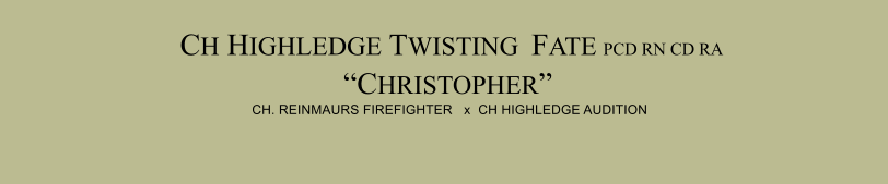"CH HIGHLEDGE TWISTING  FATE PCD RN CD RA ""CHRISTOPHER""  CH. REINMAURS FIREFIGHTER   x  CH HIGHLEDGE AUDITION"
